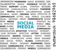 Background with Social Media headline and tags on social network topic. Closeup poster. Concept . - stock photo