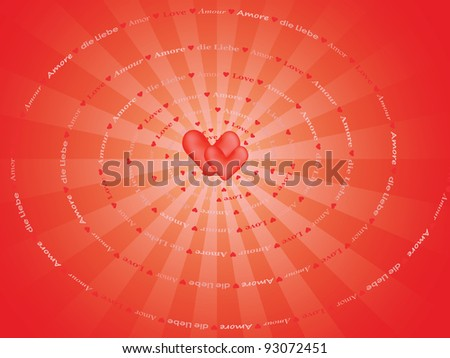 background with spiral made of word Love in several european languages - stock photo