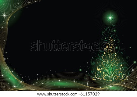 Background with stars and Christmas tree from ornate elements, illustration - stock photo