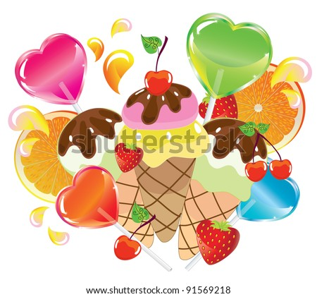 Background with sweets, fruit, berries and ice cream over white