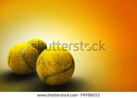 Background with tennis balls - stock photo