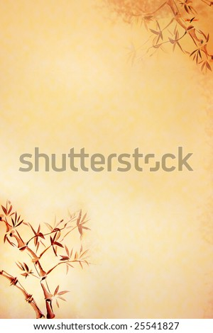 Background with texture of rice-paper, and bamboo drawn in traditional east style