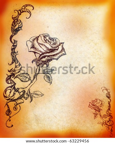 Background with the picture of rose and decorative pattern - stock photo