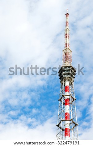 background with the TV tower and cloudy sky in St. Petersburg, Russia