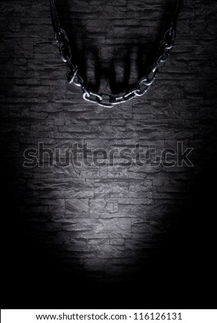 Background with the view of spooky dungeon - stock photo