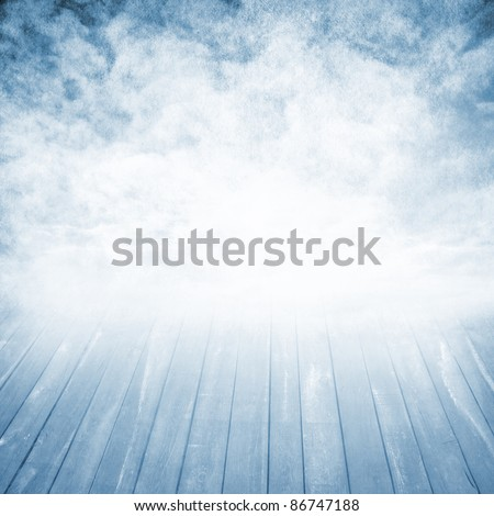 background with the wooden bridge and the sky - stock photo