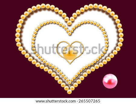 Background with three hearts from pearls - stock photo