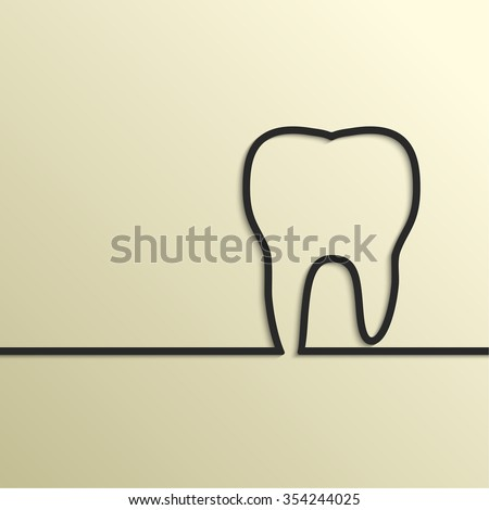 Background with tooth outline. Symbol for dental clinic. - stock photo