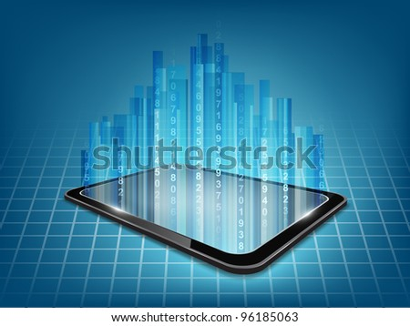 Background with touch tablet model and blue hologram. - stock photo