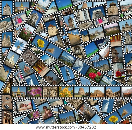 Background with travel filmstrips - stock photo