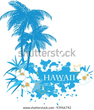 Background with tropical plants flowers and butterflies - stock photo