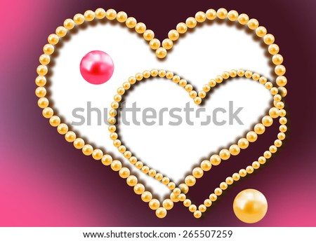 Background with two hearts from pearls - stock photo