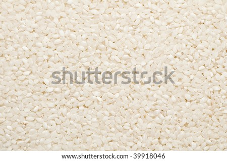 Background with uncooked white short rice on it