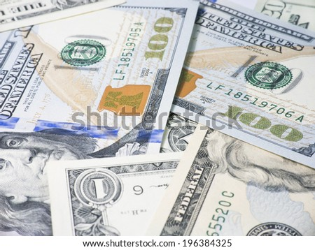 background with US Dollars banknotes - stock photo