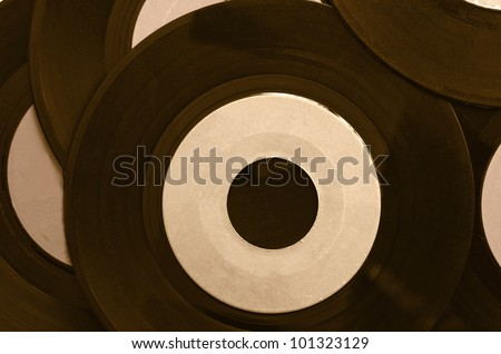 Background with vinyl records and blank label - stock photo