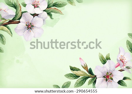 Background with watercolor cherry flowers
