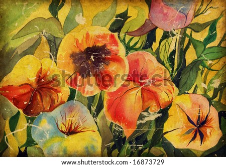 background with watercolor flowers - stock photo