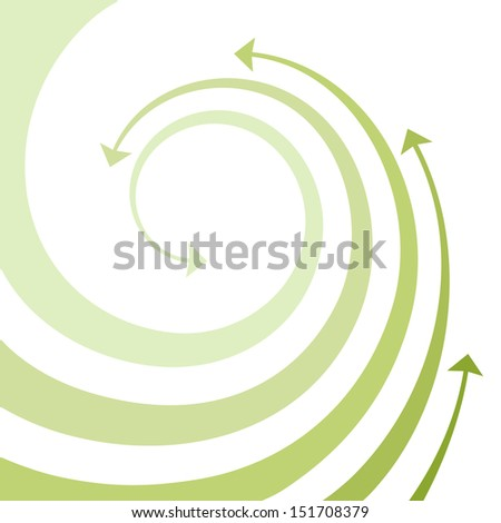 Background with wave of green twisted arrows. Abstract illustration with concept of movement, ecology and environment with space for text. Simple design element for print and web  - stock photo