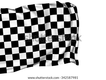 Background with waving racing three-dimensional checkered flag of end race.