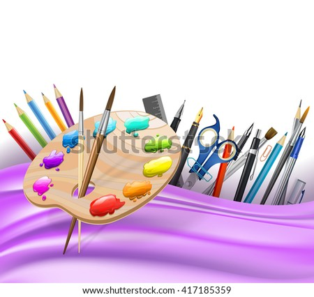 background with wavy lines and color pencils, art palette, brushes, pens. raster - stock photo