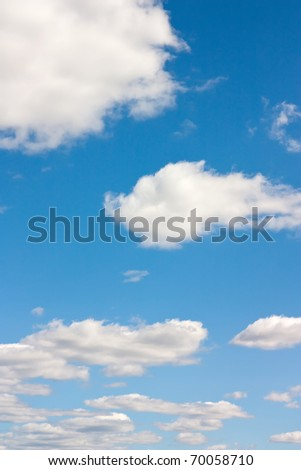 Background with white clouds on the sky - stock photo