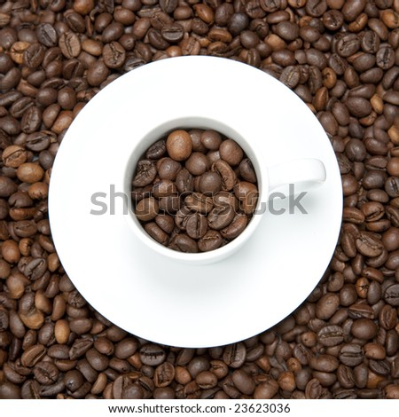 background with white cup and coffee beans - square format