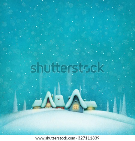 Background with winter landscape and houses - stock photo