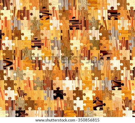 Background with wooden patterns of different colors and puzzle shapes. Endless texture can be used for wallpaper, pattern fills, web page background, surface textures - stock photo