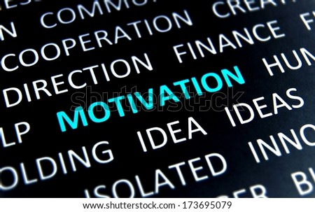 Background with words motivation, idea, direction, finance, ideas, cooperation, view left - stock photo