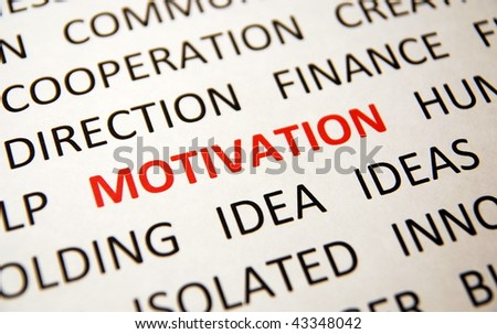 Background with words motivation, idea, direction, finance, ideas, cooperation, view left