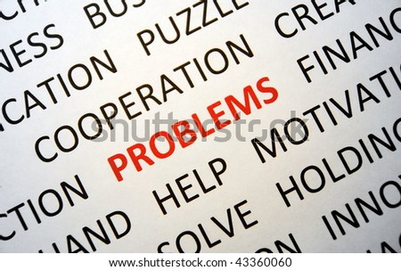 Background with words problem, help, solve, cooperation, puzzle, view top