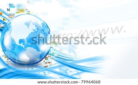 Background with world and streaming photos - stock photo