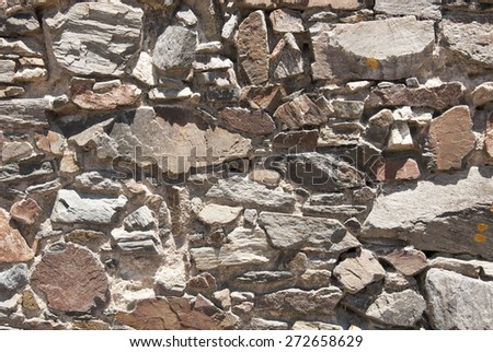 Backgrounds And Textures - Stone Wall Ruins / Vintage Stone Wall - stock photo