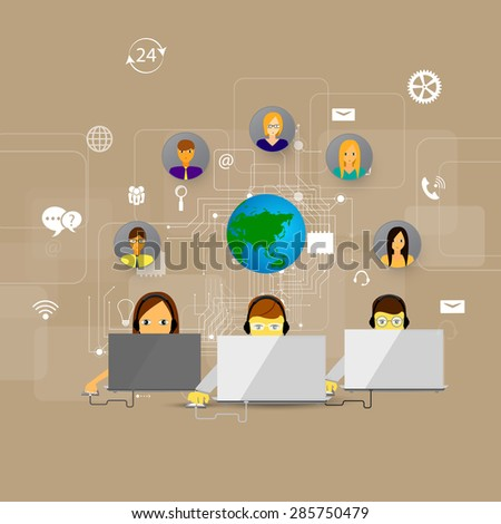 backgrounds concept of call center, customer support - stock photo
