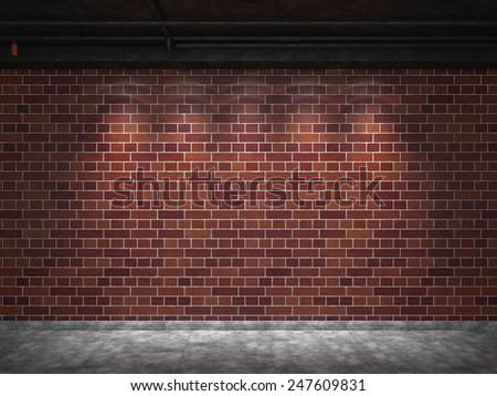 Backgrounds of brick wall illuminated - stock photo