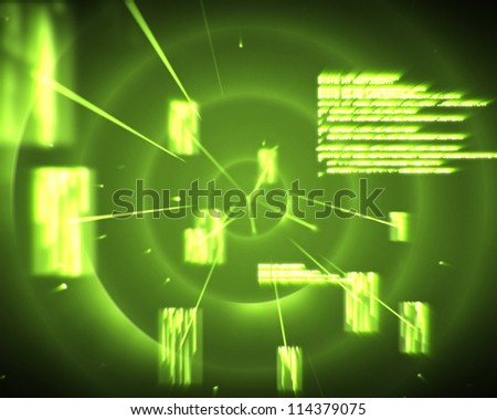 Backgrounds of green circles with silhouettes