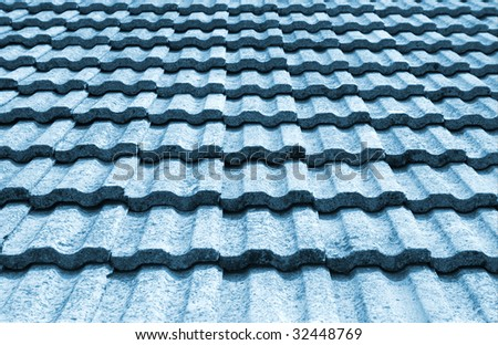 backgrounds with blue roof of the tile - stock photo