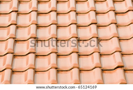 backgrounds with red roof of the tile - stock photo