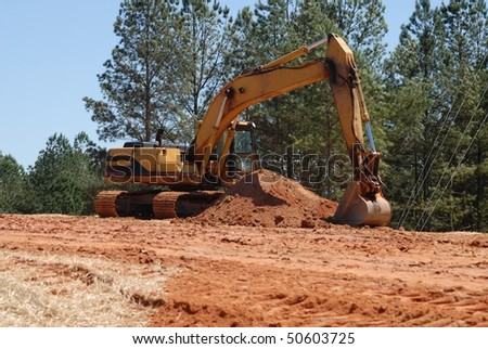 Backhoe at Construction site Georgia - stock photo