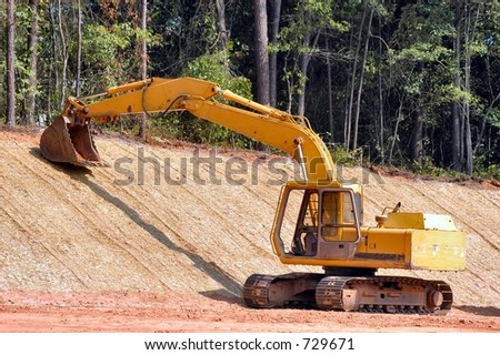 Backhoe at rest - stock photo