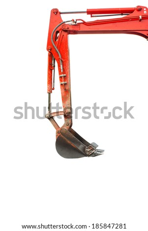 Backhoe excavator bucket side view isolated white  - stock photo