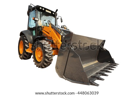 Backhoe loader or bulldozer - excavator with clipping path isolated on white background - stock photo