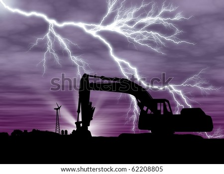 Backhoe with lightning on purple background and clouds farm setting with copy space - stock photo