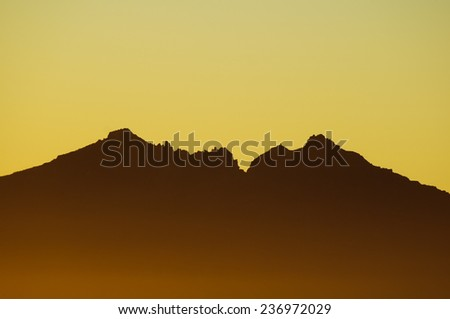 Backlight Silhouette Sunset over the Mountains in Canary Islands Tenerife