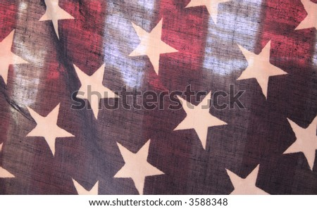 backlit American flag - stock photo