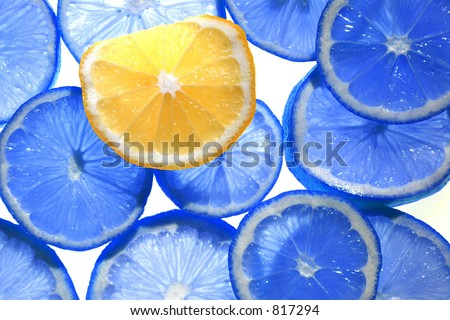 Backlit Citrus Fruit (Blue Colored Lemons)
