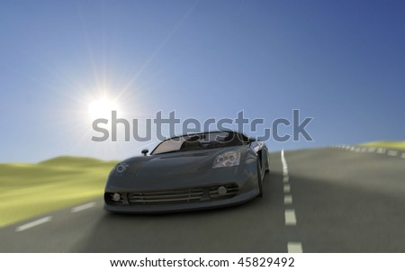 Backlit fast driving sportscar on country road