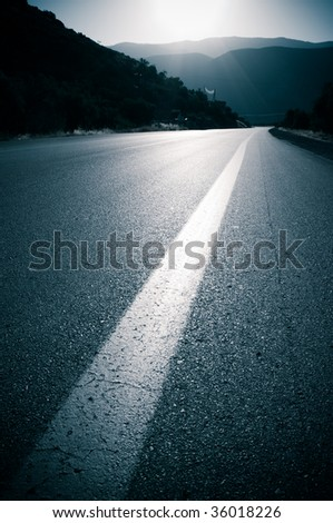 backlit for road and line roadside - stock photo