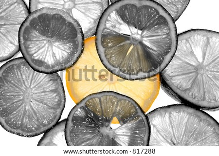 Backlit Lemons - all black & white but one. - stock photo