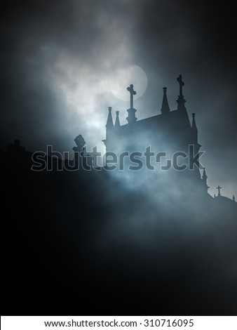 Backlit old cemetery in a foggy full moon night - stock photo